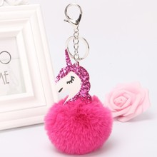 DROPSHIPPING  Unicorn pompom Pendant Toy Rabbit fur ball Fluffy licorne Bag Car keyring  for Girls Birthday Christmas Gift