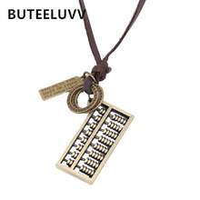BUTEELUVV Abacus Pendant Necklace Fashion Punk Alloy Letter Charm Brown Black Leather Vintage Pendant Necklace for Women Men