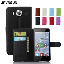 JFVNSUN Case for Microsoft Nokia Lumia 950 NEW Card Slot Wallet Magnetic Leather Flip Cover for Nokia Lumia 950 Stand Phone Bag(China)