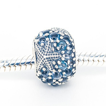 New 925 Sterling Silver Oceanic Starfish With Frosty Mint CZ Charm Beads Fits Original European Bracelets DIY Jewelry(China)