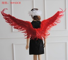 Angel wings of the new black red white feather yan wing adult children's performance Halloween costumes wings(China)