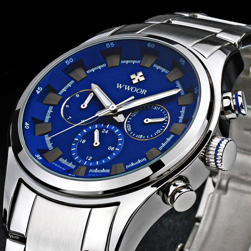 2016Top Luxury Brand WWOOR Casual Sports Quartz-watch Men Stainless Steel waterproof Analog Clock Auto Date Watches Montre Homme<br><br>Aliexpress