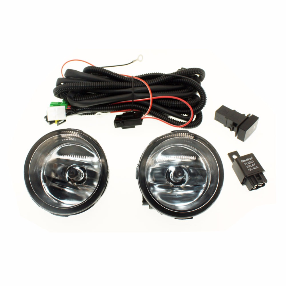 For NISSAN NOTE E11 MPV 2006-2015 H11 Wiring Harness Sockets Wire Connector Switch + 2 Fog Lights DRL Front Bumper Halogen Lamp <br>