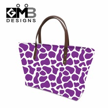 Simply Giraffe Pattern Shoulder Handbags for Women,Girls Purple Vocation Tote Bag,Spot Large Handbag Handle for college students(China)