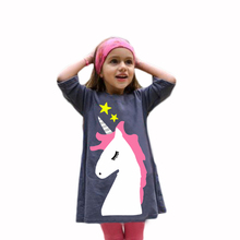 Girls Unicorn Cute Dress Navy Blue Pullover Toddler Dress Summer Wear Cotton Short Dresses Half Sleeve Girl Party Casual Dresses