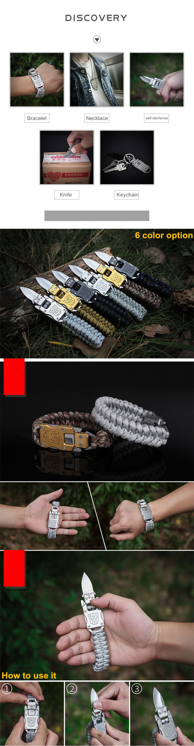 Outdoor survival paracord with knife