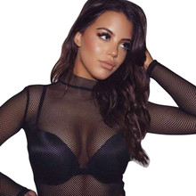 2017 Fashion t shirt Women Sexy Black Grid Perspective Turtleneck T Shirt Hollow Long Sleeve Fishnet Mesh Top Shirt Plus Size