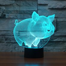 3D LED Night Lights Small Pig with 7 Colors Light for Home Decoration Lamp  Amazing Visualization Optical Illusion Awesome 6f180e971e17