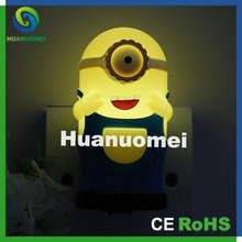 Wholesale cute baby nice gift single eye and eyes minions led night light no batteries 220V(China)