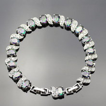 Fire Rainbow Bracelets For Women Silver Color Link Chain Zircon Crystal Jewelry For Wedding B01(China)