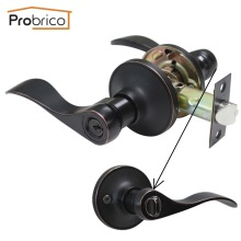 Probrico Stainless Steel Entrance Lock Security Door Lock With Key Wave Style Door Handle Knob Oil Rubbed Bronze DL12061ORBET(China)