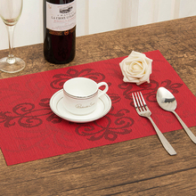 4Pcs/lot Placemat Chinese knot pattern dining tablemat disc pads bowl pad coasters waterproof table cloth pad slip-resistant pad(China)