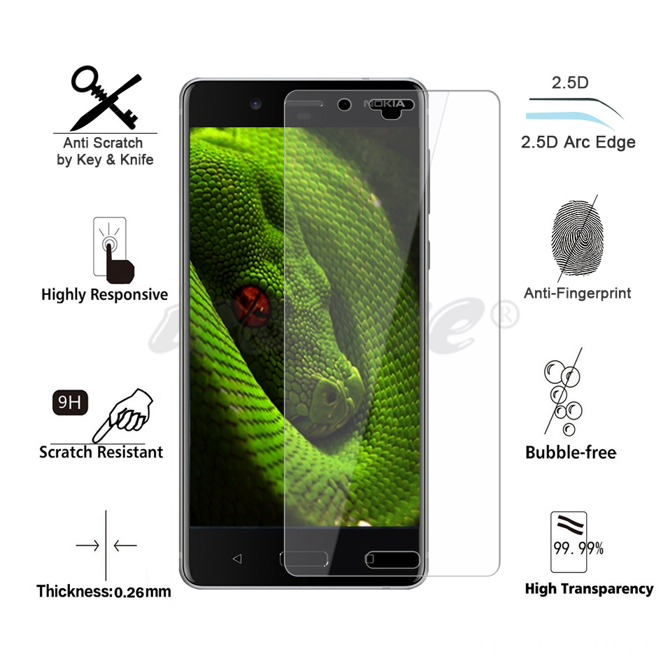 Icoque 9H 2.5D Glass for Nokia 8 Screen Protector Glass Display Film for Nokia8 Nokia 5 6 7 3 2 Nokia 8 Tempered Glass Protector (2)