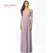 Wow Bridal Dusty Rose Convertible Bridesmaid Dresses Fast Delivery A-line Floor Length Cap Sleeve Dress
