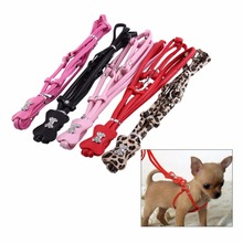 All Seasons Pet Puppy Dog Leashes Step-in Diamond PU Leather Leash Lead Rope Leopard Harness Set Rhineston 5 Colors