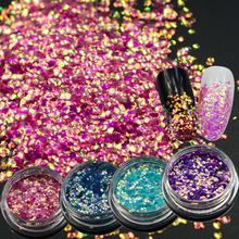 1g Bright Shine 3D Slice Paillettes Sparkly Nail Art Decoration DIY Manicure Mermaid Chameleon 4 Laser Colors Glitter TRND297(China)