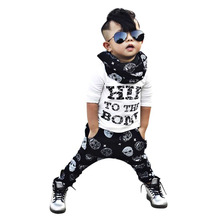 OUTAD 100% Brand New 2pcs Toddler Kids Baby Boy T-shirt Tops + Pants Summer Hip Skull Pattern Casual Outfits Clothing Set