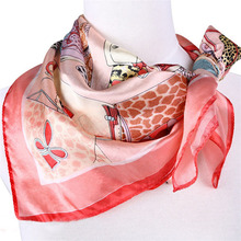 [LESIDA] Fashion Pink Printed girl Ladies Scarves,Spring Or Fall Scarves And stoles,Satin FinishTippet,100% Silk Scarf Square