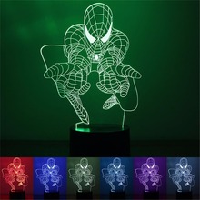 2017 new fation express it in the foreign trade hot style spider-man 3 d a night light Smart home colorful LED lights USB power