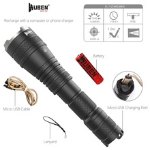 Powerful LED Tactical Flashlight Zoomable 1200 Lumen USB Rechargeable 18650 Waterproof IP8 Torch Cree L2 LED flashlight Light xm(China)