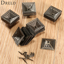 50Pcs Antique Bronze Square Nailhead Upholstery Decorative Nails Tack Stud Jewelry Wooden Box Furniture Pushpin Doornail 21x21mm(China)