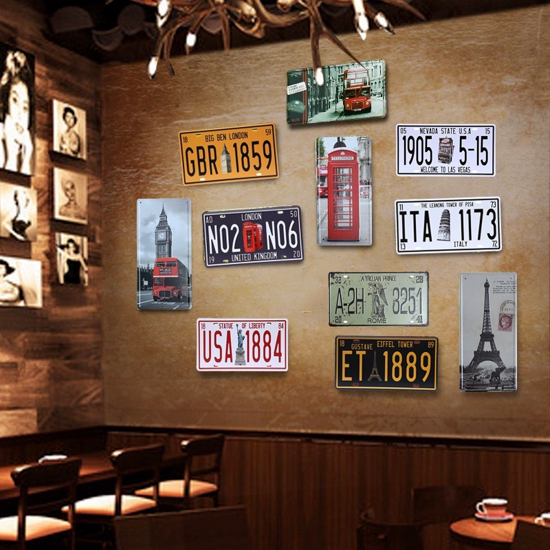 Paris Vintage Metal Tin Sign Poster Bar Pub Cafe Wall Home Decor Car Number