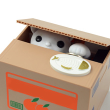 New Arrival Cute Design Piggy Bank Itazura Cat Steal Money Coin Box Piggy Bank Electronic Plastic Money Safety Box T0456 P40(China)