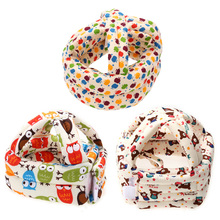 Baby Kids Adjustable Warm Cap No Bumps Safety Helmet Headguard Hats Soft Cotton Baby Care Cap Cute Printed Baby Safety Accessory