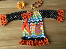 2016 baby girl thanksgiving halloween dress baby girl kids children muti color chevron dress with matching headband and necklace(China)