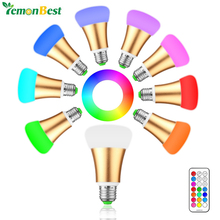 10W E27 RGB LED Bulb Stage Lamp 12 Colors with Remote Control LED Light Timing Function AC85-265V RGB+Cool White Home Decoration