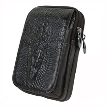 High Quality Men Genuine Leather Real Cell Mobile Phone Case Purse Crocodile Grain Style Cigarette Belt Hip Fanny Bag Waist Pack(China)