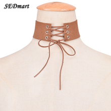 SEDmart Wide Belt Velvet Choker Necklace Tied Lace Up Neck Chokers Necklaces Women collares collier ras du cou(China)