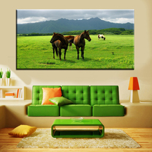 xh1431 wild horses in the grass wall pictures canvas decor art print unframed