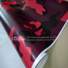 Big Texture Red Camouflage VINYL Wrap Film for Car Styling Decal Red Black Camo Vinyl for SUV MINI TRUCK Car styling Camouflage