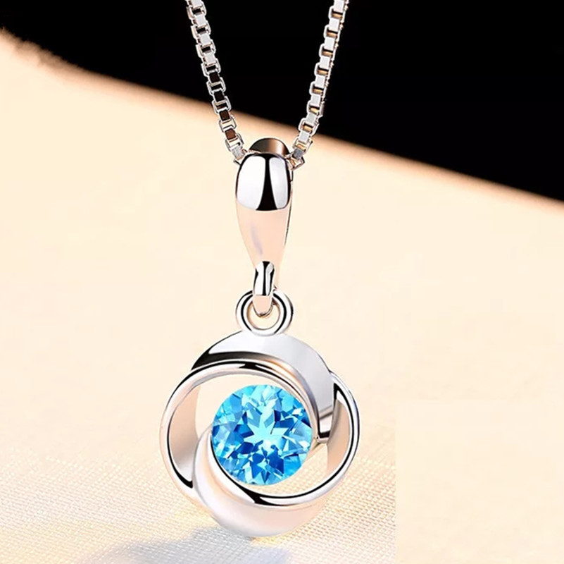 Necklace Jewelry Crystal Pendant Zircon Sliver Sapphire Blue S925 Fashion Retro Colgante title=