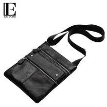 ESIPOSS Brands Men Messenger Bags Genuine Leather Shoulder Bags Male Thin Business Crossbody Bags for Men Zipper Designer Bags