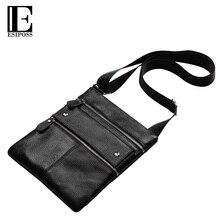 ESIPOSS Brands Men Messenger Bags Genuine Leather Shoulder Bags Male Thin Business Crossbody Bags Men Zipper Designer Bags