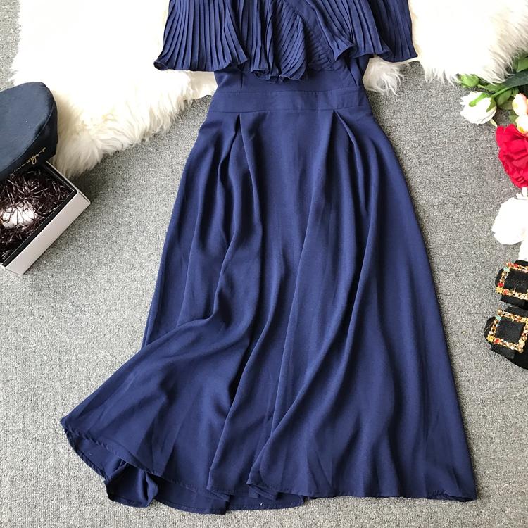 2019 Spring Women Chiffon Pleated Braces Sling Spaghetti Strap Goffer Long Dress Ladies Ruffles Empire Drapped Swing Slip Dress 161