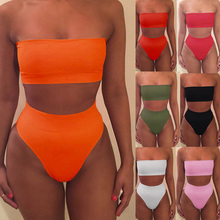 2018 Sexy bikini vrouwen Bikini 2018 set Off Shoulder Solid Bandage Push Up Padded Badmode Badpak Beachwear Pluz Size biquini(China)