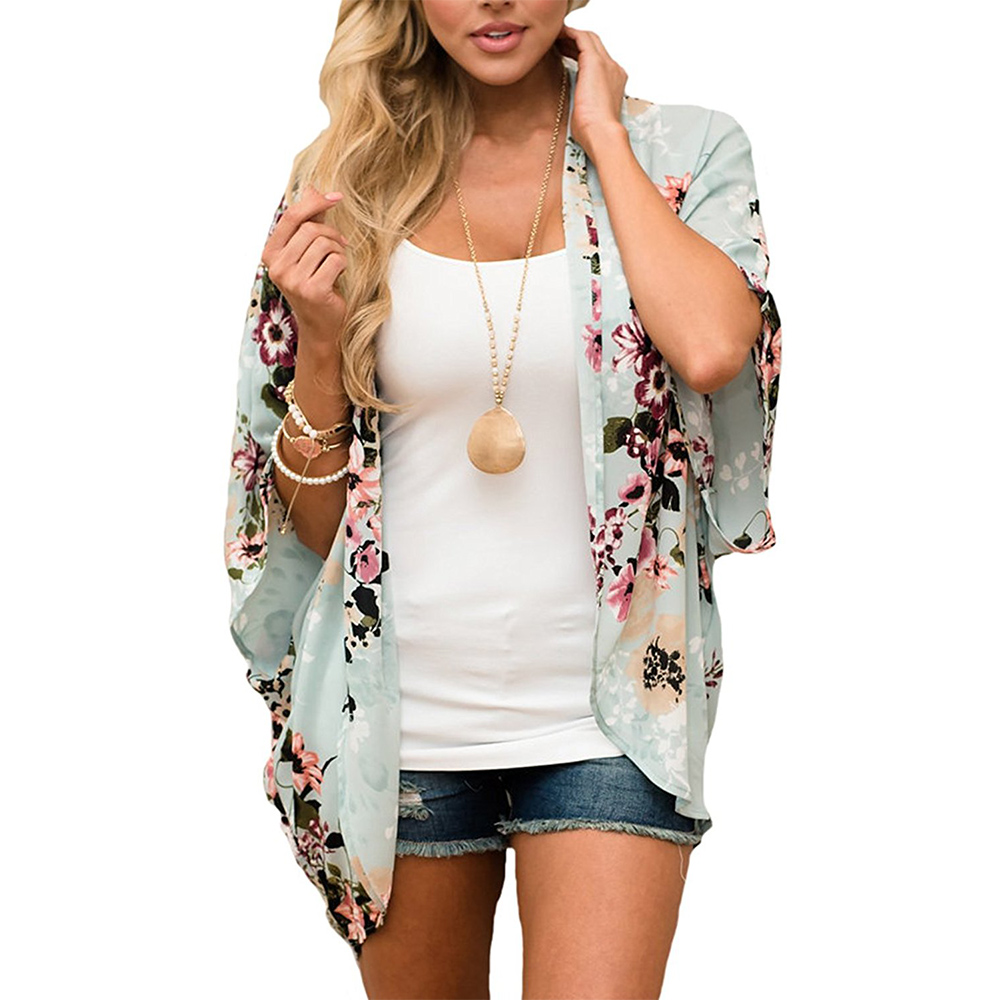 women chiffon beach sexy floral print long bikini kimono cardigan cover up oversize onesize bathing suit chiffon dress beach wear plus size casual summer swimwear wrap 2018