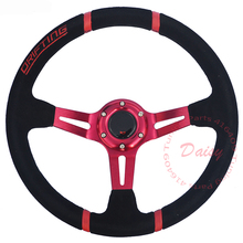 Universal Red Arms Suede Leather Drifting Car Steering Wheel 350mm