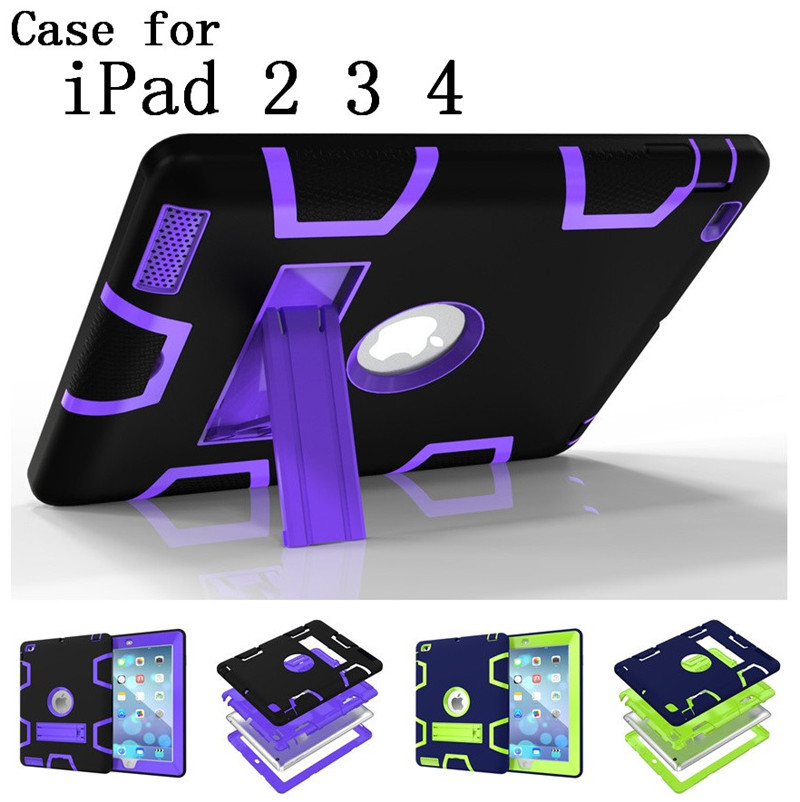 Hot sale original quality Hard Silicone Rubber with stand Case Cover For Apple ipad 2 3 4 display for Apple iPad logo,SKU0114BLC<br><br>Aliexpress