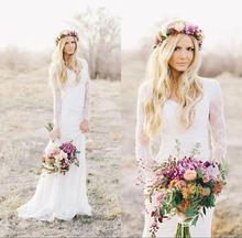 2017 Romantic Boho Lace Cheap Beach Wedding Dresses Long Sleeves Appliques Sweetheart Garden Country Style Long Bridal Gowns BE5