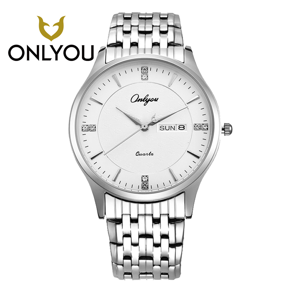 ONLYOU Mens Womens Watches Top Brand Luxury Lover Watch Stainless Steel Buckle  Quartz Couple watch Week Display Men Clock<br>