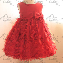 Kids Girls Pettiskirt Party Dress Flower Clusters Bow Fluffy Bubble Dress1-6Y