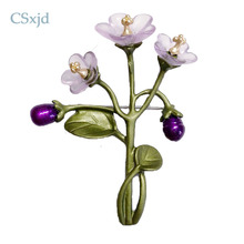 CSxjd Vintage Exquisite violet flowers Natural pearl branches Resins flowers Fashion Brooch pin Scarf Jewelry(China)