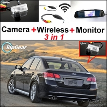 3 in1 Special Rear View Camera + Wireless Receiver + Mirror Monitor Back Up Parking System For Subaru Legacy B4 MK5 Liberty