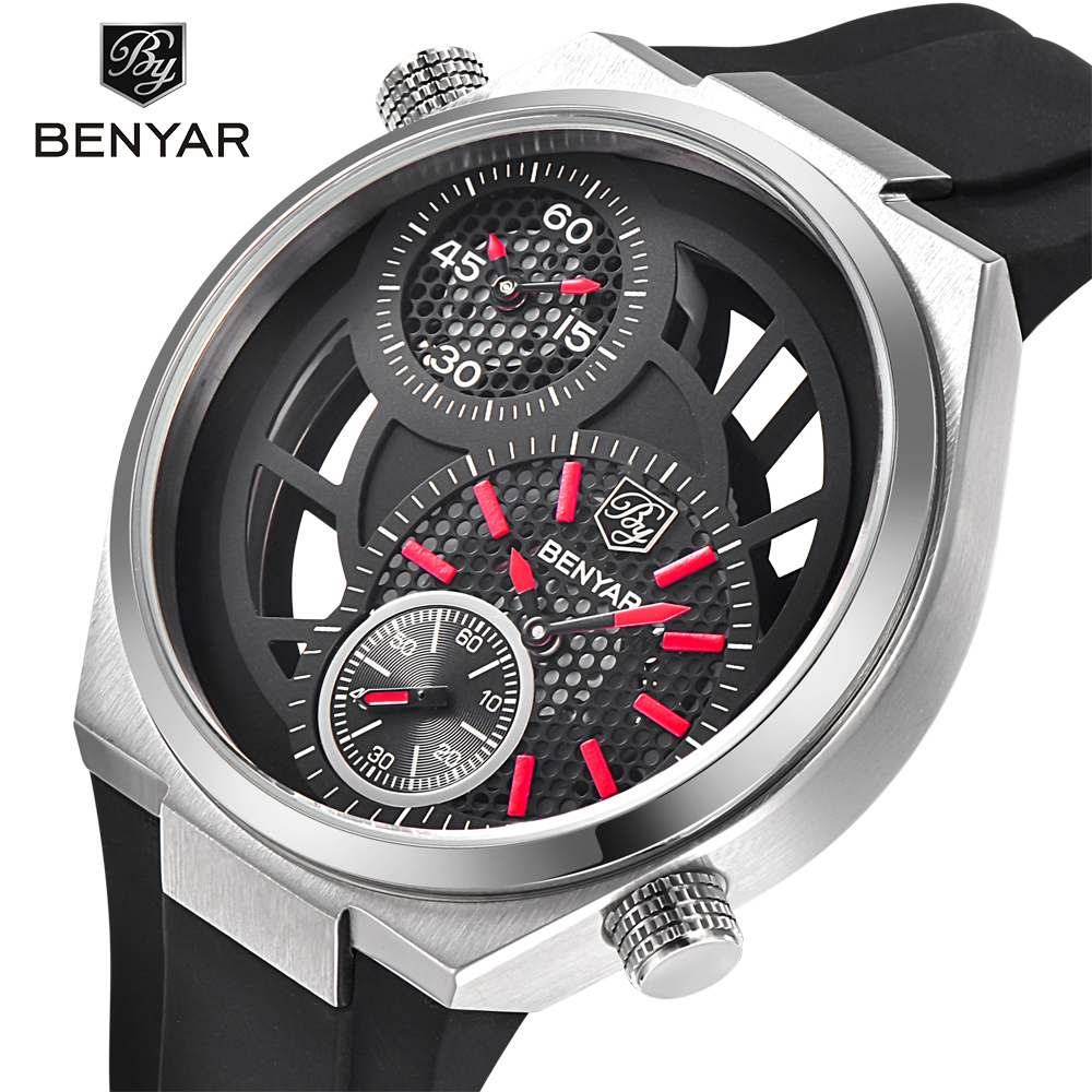 Mens Top Brand Luxury Sports Watches BENYAR Men Big Dial Design Clock Fashion Hollow Waterproof Quartz Watch Relogio Masculino<br>