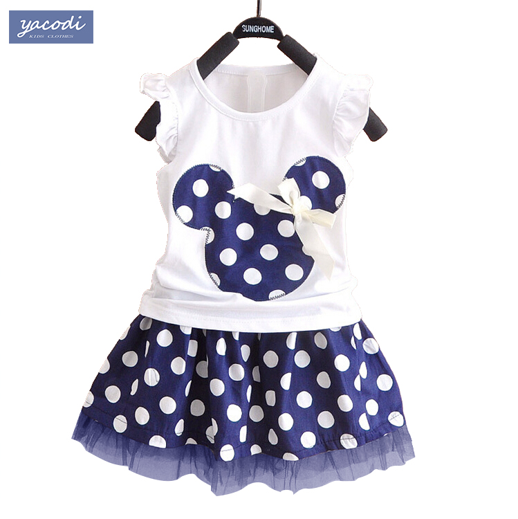 2017 korean kids clothes brands mickey minnie girls clothing sets baby girl cartoon t-shirt + dot skirt 2pcs set family clothing<br><br>Aliexpress