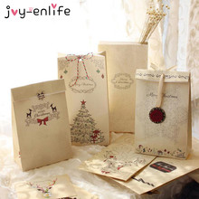 JOY-ENLIFE 6pcs Merry Christmas Kraft Paper Bag Gift Bags Candy bag Kids Christmas Gift Packaging Christmas Party Decor Supplies